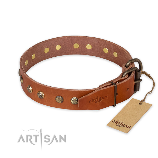 Handy use full grain natural leather collar with adornments for your doggie