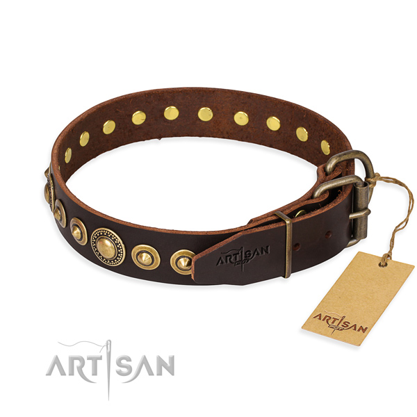 Tear-proof leather collar for your elegant canine