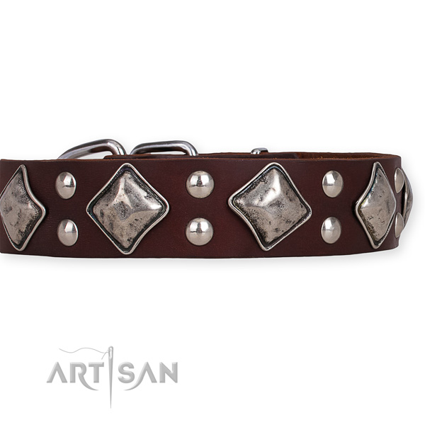 Easy to put on/off leather dog collar with extra strong rust-proof buckle