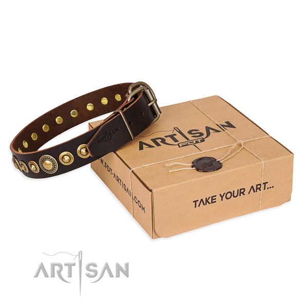 Perfect fit full grain natural leather dog collar for stylish walking