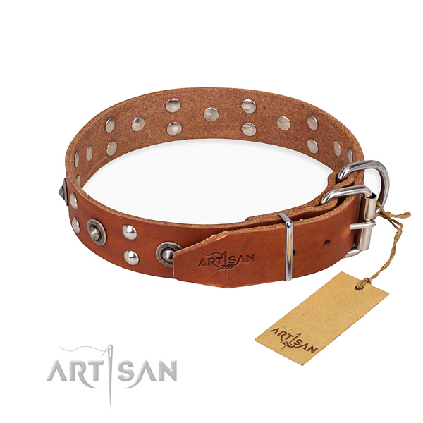 Handy use full grain leather collar with adornments for your dog