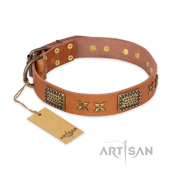Significant design embellishments on natural genuine leather dog collar