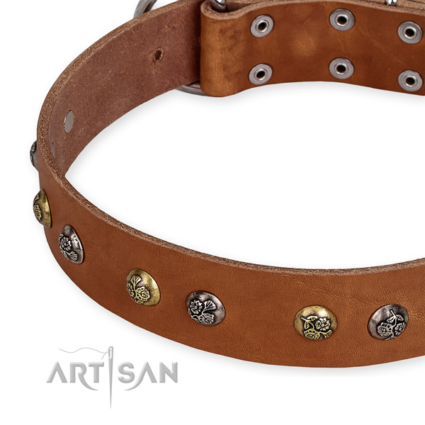 Easy to put on/off leather dog collar with resistant to tear and wear durable buckle