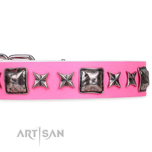 Quick to fasten leather dog collar with resistant durable buckle