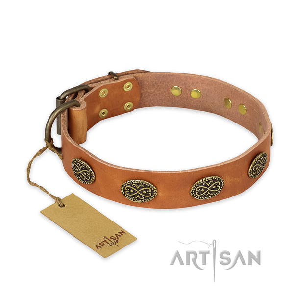 Exquisite design decorations on leather dog collar