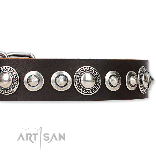 Easy to use leather dog collar with extra sturdy durable buckle