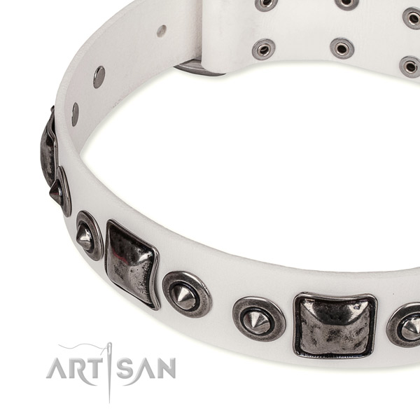 Easy to use leather dog collar with almost unbreakable rust-proof hardware