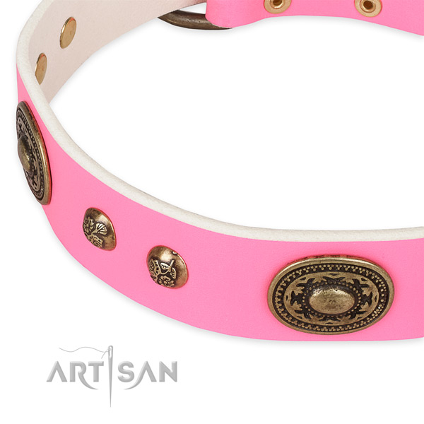 Daily use full grain genuine leather collar with reliable buckle and D-ring