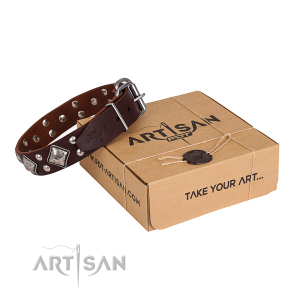 Finest quality full grain genuine leather dog collar for daily use