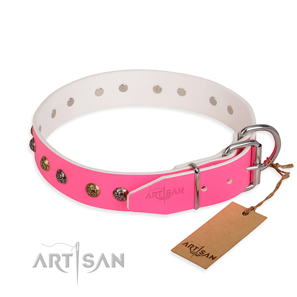 Stunning design decorations on natural genuine leather dog collar