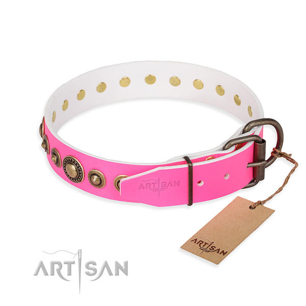 Wear-proof leather collar for your stunning dog