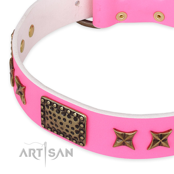 Easy to put on/off leather dog collar with extra sturdy durable buckle