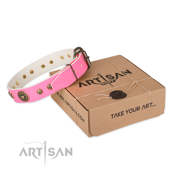 Top notch natural genuine leather dog collar for everyday use