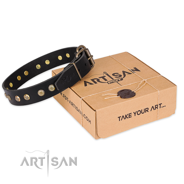 Finest quality natural genuine leather dog collar for daily use