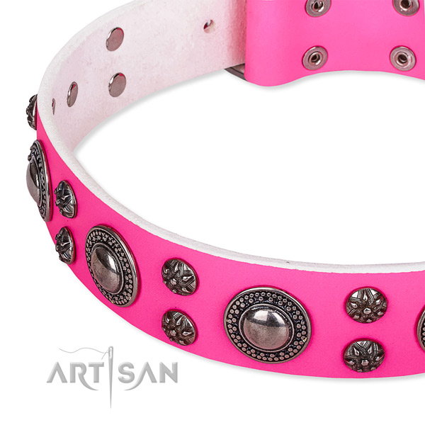Easy to adjust leather dog collar with almost unbreakable buckle and D-ring