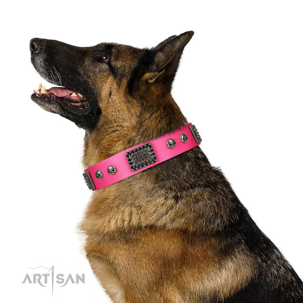 Stunning full grain genuine leather collar for your impressive dog