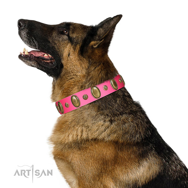 Daily use top notch natural genuine leather dog collar with decorations
