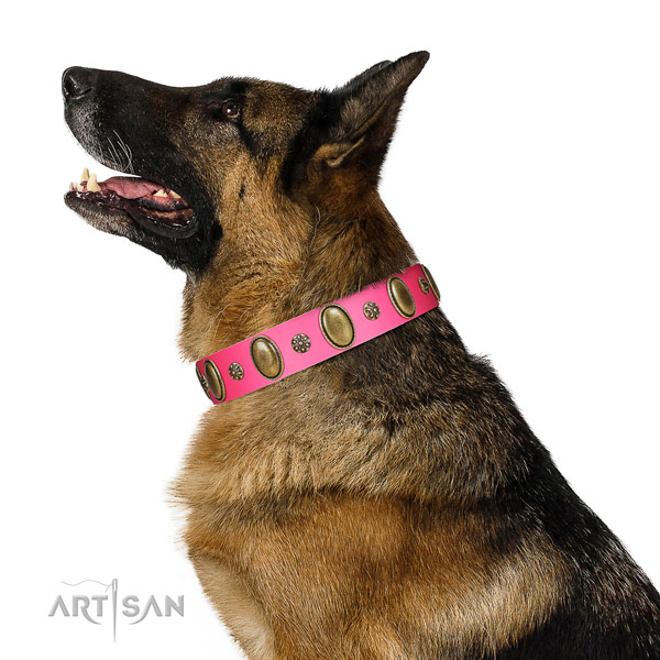 Comfortable wearing gentle to touch full grain genuine leather dog collar with studs