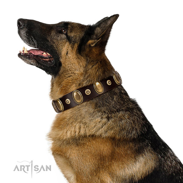 Fashionable decorated full grain genuine leather dog collar of reliable material