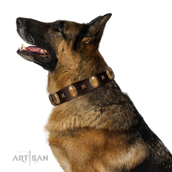Top notch full grain leather dog collar handmade of genuine quality material