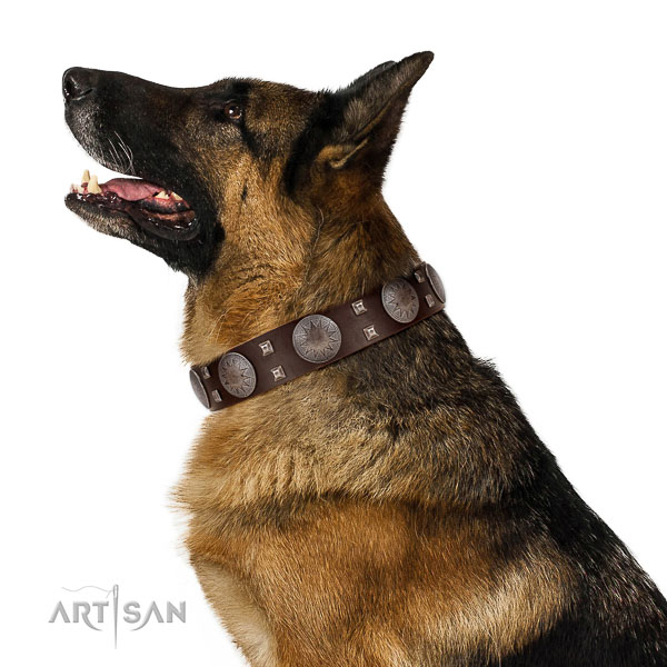 Soft to touch genuine leather dog collar with rust resistant fittings