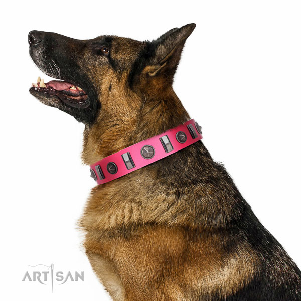 Exquisite decorations on natural leather collar for daily use your canine