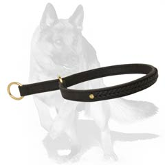 Leather Choke Collar with 2 Brass Rings