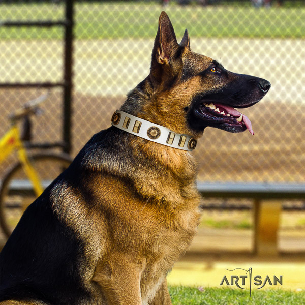 German Shepherd Dog full grain leather dog collar with embellishments for comfortable wearing