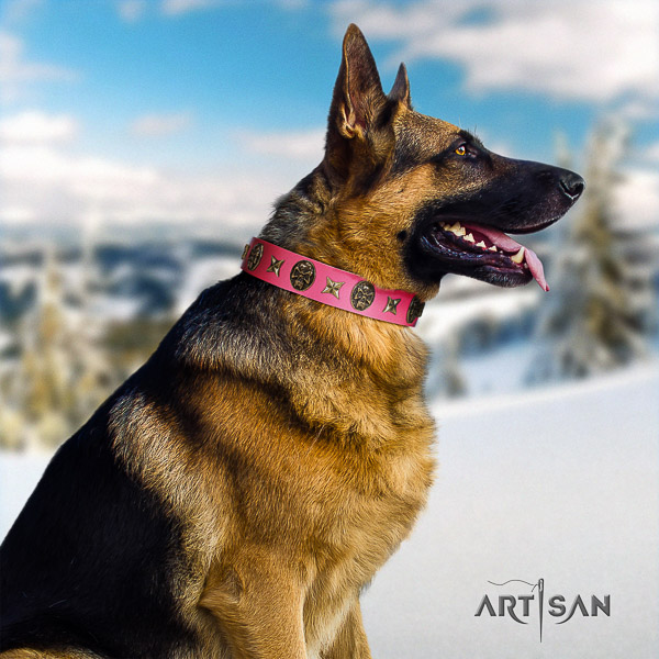 German Shepherd Dog genuine leather dog collar with decorations for everyday use