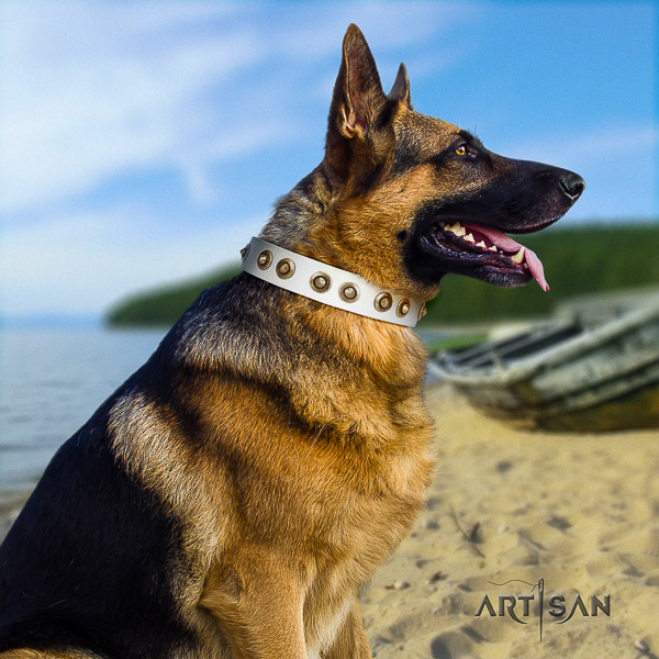 German Shepherd Dog natural genuine leather dog collar with decorations for comfy wearing