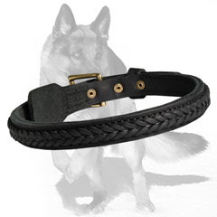 Comfortable Leather Dog Collar with waxed and polished edges