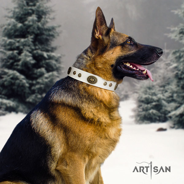 German Shepherd embellished full grain natural leather dog collar for your lovely canine
