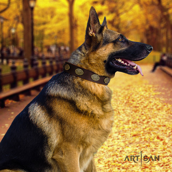 German Shepherd adorned leather dog collar for your impressive pet