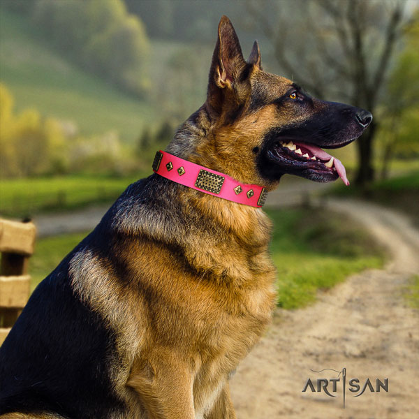 German Shepherd adorned natural genuine leather dog collar for your beautiful four-legged friend