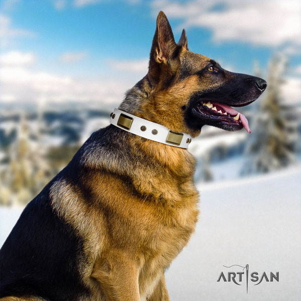 German Shepherd decorated full grain leather dog collar for your lovely pet