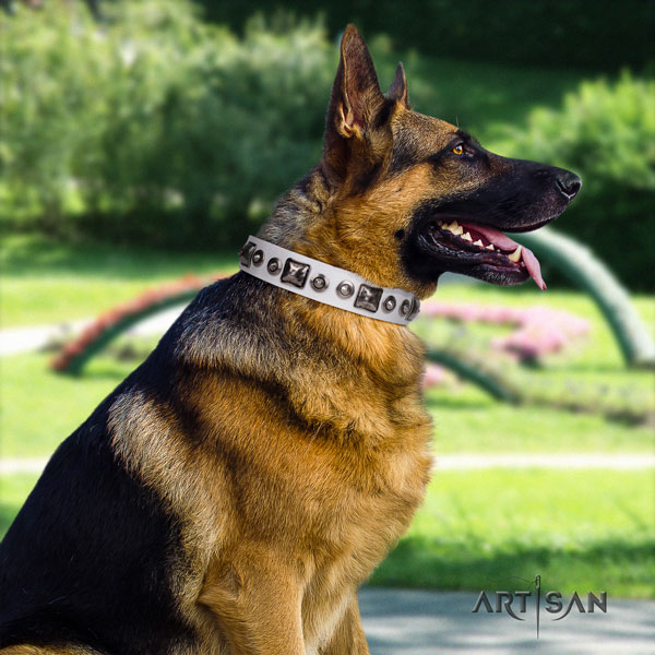 German Shepherd stylish design full grain genuine leather dog collar