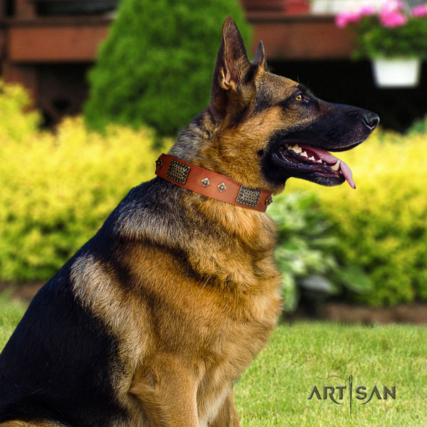 German Shepherd adorned genuine leather dog collar for your handsome four-legged friend