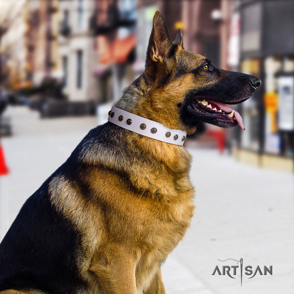 German Shepherd unique full grain natural leather dog collar