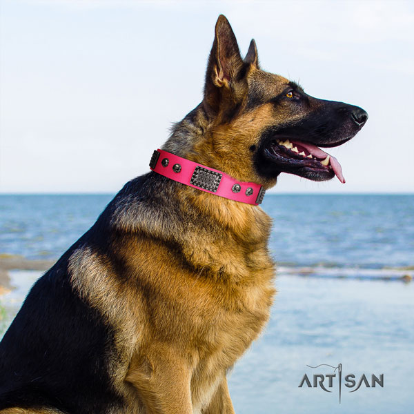 German Shepherd adorned full grain genuine leather dog collar for your beautiful four-legged friend