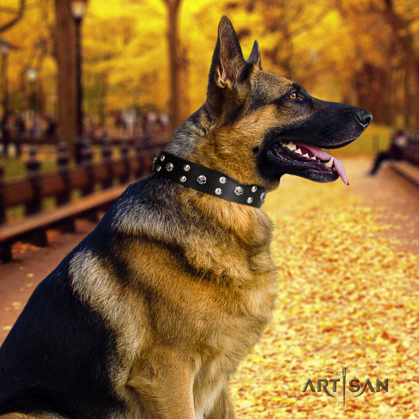 German Shepherd fine quality natural genuine leather dog collar