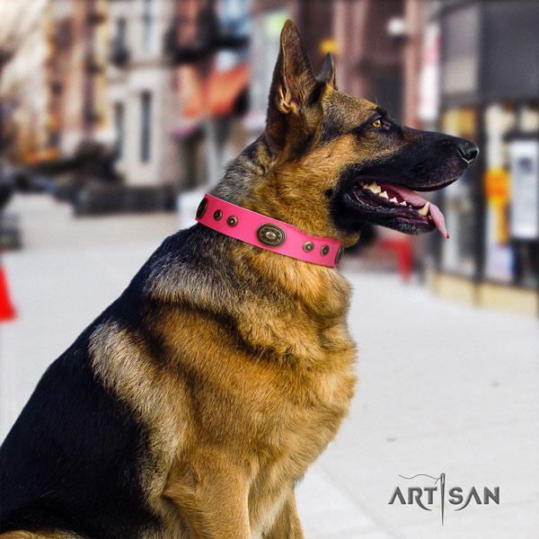German Shepherd unique full grain genuine leather dog collar