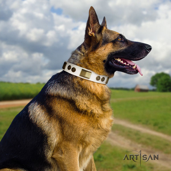 German Shepherd adorned natural genuine leather dog collar for your attractive dog