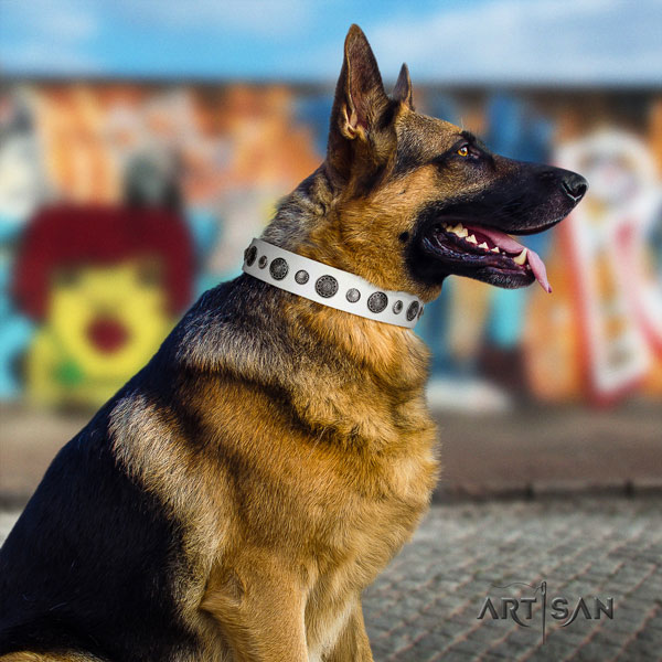 German Shepherd embellished full grain genuine leather dog collar for your beautiful four-legged friend
