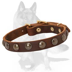 Excellent leather collar with hand set studs