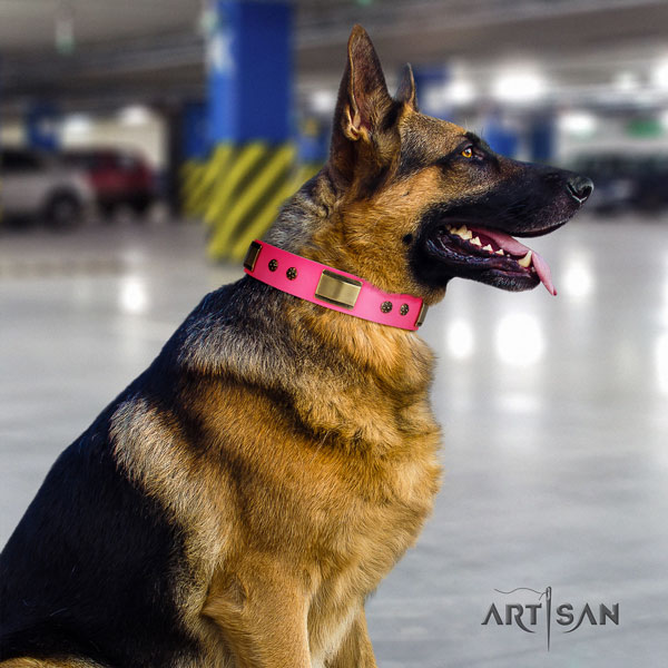 German Shepherd adorned natural genuine leather dog collar for your stylish dog