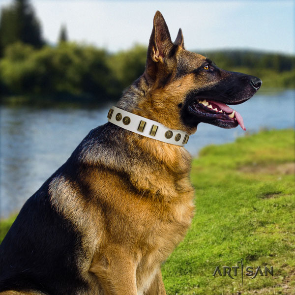 German Shepherd studded natural genuine leather dog collar for your lovely doggie