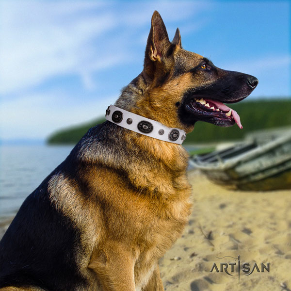 German Shepherd inimitable natural genuine leather dog collar