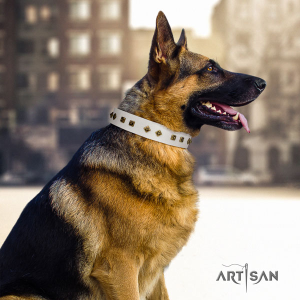 German Shepherd adorned leather dog collar for your handsome four-legged friend