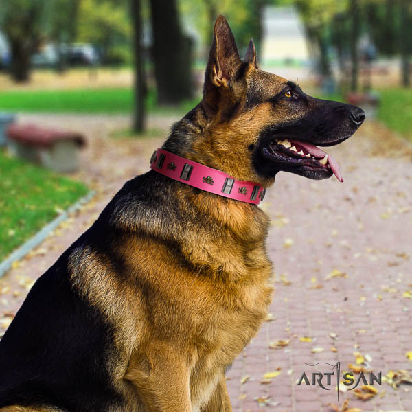 German Shepherd easy wearing leather dog collar with stylish design decorations