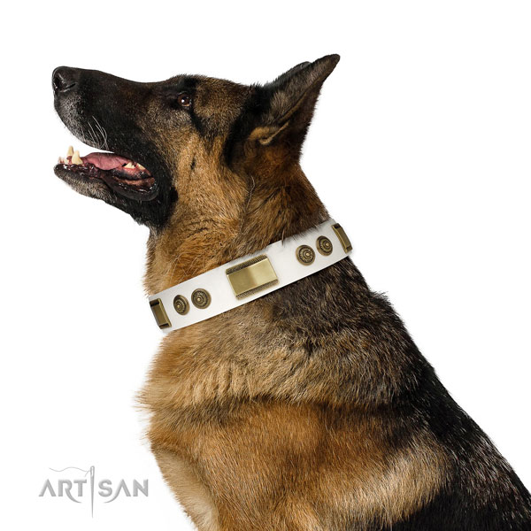 German Shepherd adorned genuine leather dog collar for everyday walking title=German Shepherd leather collar with studs for comfortable wearing